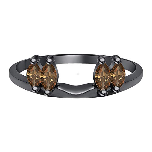 tusakha 0.50 Ctw Marquise Cut Created Smoky Quartz 14K Black Gold Plated Ladies Guard Anniversary Wrap Jacket 925 Sterling Silver ()