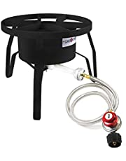GasOne B-5300 One High-Pressure Outdoor Propane Burner Gas Cooker Welded Frame No Assembly required 0-20 PSI