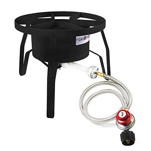 GasOne B-5300 One High-Pressure Outdoor Propane Burner Gas Cooker Welded Frame No Assembly required 0-20 PSI (Stove Turkey Fryer)