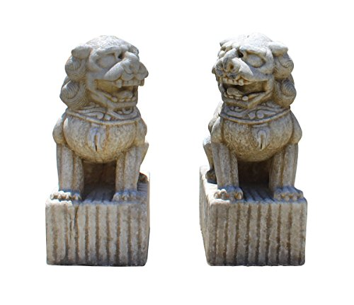 Chinese Pair Distressed Brown White Marble Stone Fengshui Foo Dogs Statues Acs2868