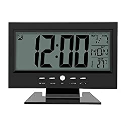 Electric Alarm Clock, LCD Digital Sound Sensor Table Desk Alarm Clock with Calendar and Temp Display (Black)