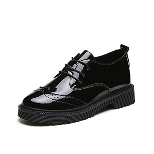 Lace Perforated Toe Low Round Shoes T Black Heel up Shoes Fashion Women's JULY Retro Oxfords Comfy wOqf0wY
