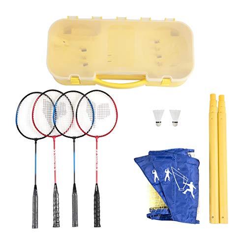 Goplus Portable Badminton Set Outdoor Folding Adjustable Badminton Net 10Ft w/Stand, Carry Box