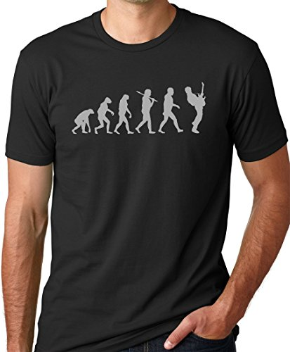 (Think Out Loud Apparel Guitar Player Evolution Funny T-Shirt Black XL)