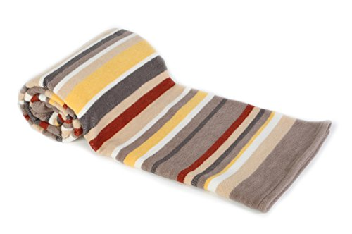 (Arus All Season Collection Cotton Blend Throw Blanket, Desert Stripe, 60X80)