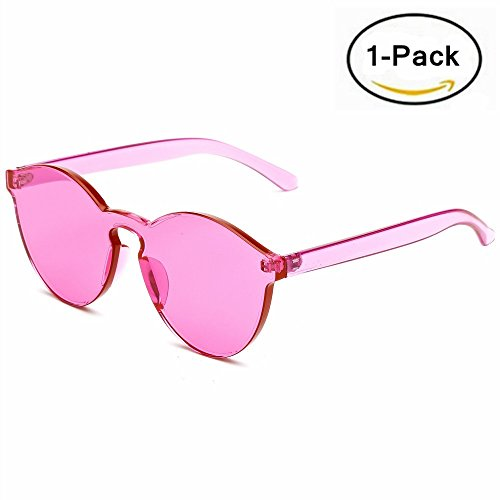 Samto One Piece Sunglasses, 2 Pack pc lens rimless colorful womens sunglasses (Rose red, - Sunglasses Rose Red
