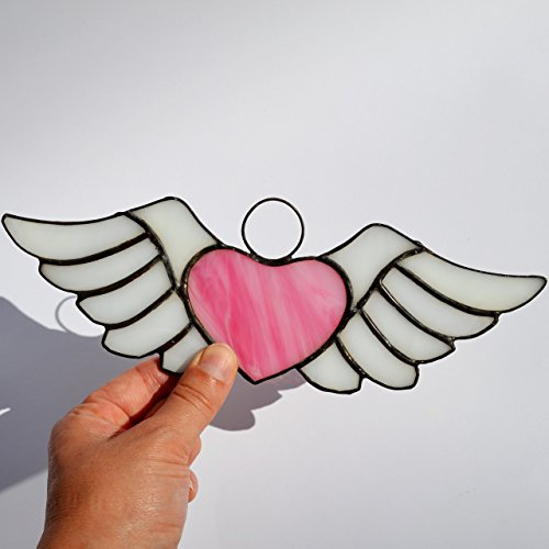 Stained Glass Heart with Wings Suncatcher for Window Hanging or Wall Decor, Unique Pink Winged Heart