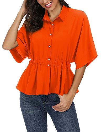 Zaoqee Women's Peplum Chiffon Blouses Shirts - Bat Wing Sleeve Tie Knot Back Cute Tops Orange S