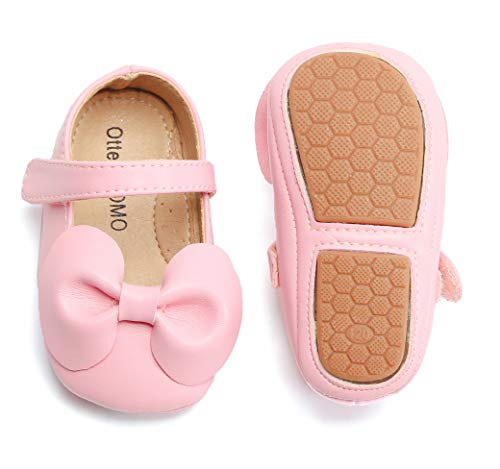 Otter MOMO Baby and Toddler Girls Mary Jane Flats with Bowknot Non-Slip Toddler First Walkers Princess Dress Shoes (6-9 Months-4 5/8 Inches, -