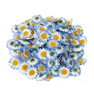 "Ewanda store 100Pcs Artificial Silk Sunflower Heads Gerbera Daisy Flowers Petals 1.6"" for DIY Home Wedding Decoration,Garden Craft Art Party Decor(Blue) 18"