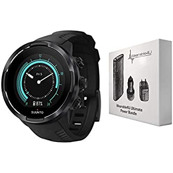 Suunto 9 Baro Durable Multisport GPS Watch with Barometric Altitude and Wearable4U Power Pack Bundle (Black)