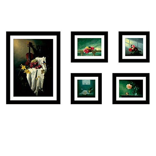 GAOYANG 5 Picture Combination Painting Decorative Picture Frame Combination Photo Wall Living Room Study Bedroom Sofa Wall New Products ( Color : Black - Roses ) by GAOYANGzhaopianqiang