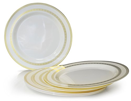 OCCASIONS 40 PACK, Heavyweight Disposable Wedding Party Plastic Plates (10.5'' Dinner Plate, Lace Ivory/Gold) (Heavyweight Lace)