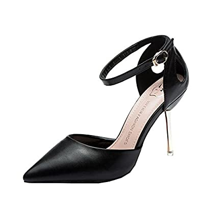 Ryse Women's Elegant Word Buckle Temperament Hollowed-out Leather High Heels Pointy Shoes