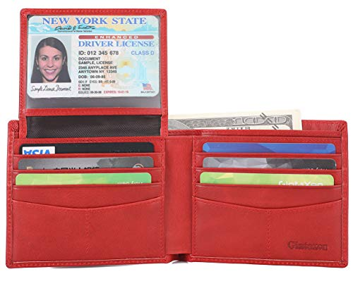 Mens Genuine Leather Bifold Wallet with 2 ID Window and RFID Blocking - Red