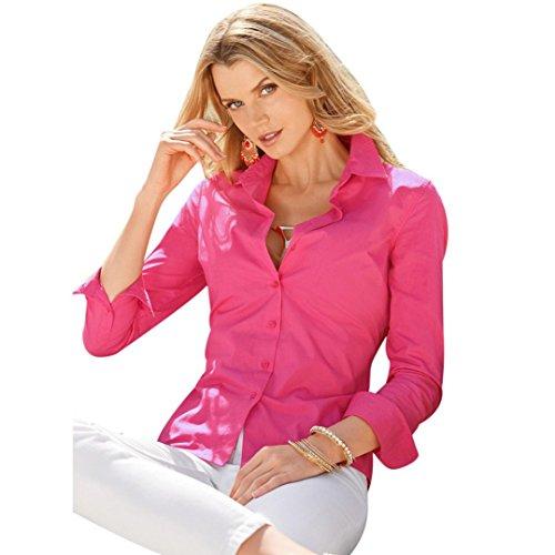 FEITONG Las señoras para mujer Manga larga Algodón Ocasional de la camisa de la blusa superior rosa caliente