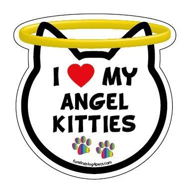 I Love My Angel Kitties cat head magnet ()