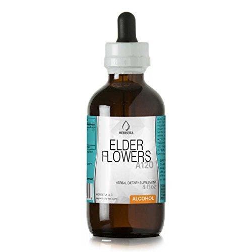 Elder Flowers A120 Alcohol Herbal Extract Tincture, Organic Elder Flowers (Sambucus Nigra) Dried Flowers (4 fl (Elder Flower Extract)