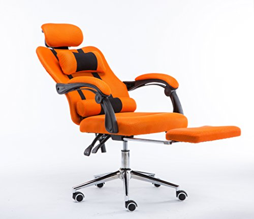 Clearance Emall Life High Back Ergonomic Mesh Swivel Office Chair with Footrest Multi-positions Flexible and Adjustable Desk Chair , Orange
