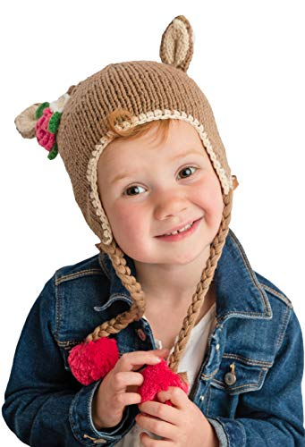 Huggalugs Girls Baby or Todder Doe Knit Beanie Hat S