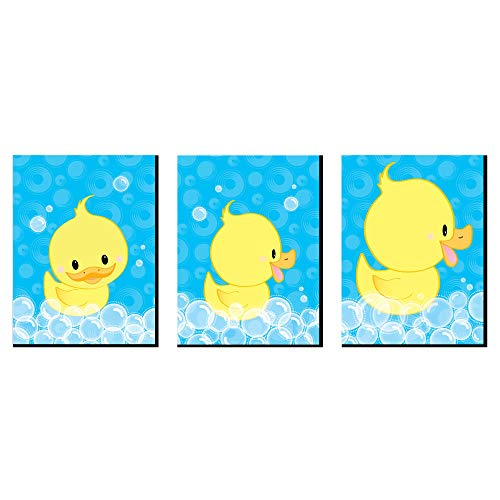 Big Dot of Happiness Ducky Duck - Rubber Ducky Nursery Wall Art and Kids Room Decorations - 7.5 x 10 inches - Set of 3 Prints