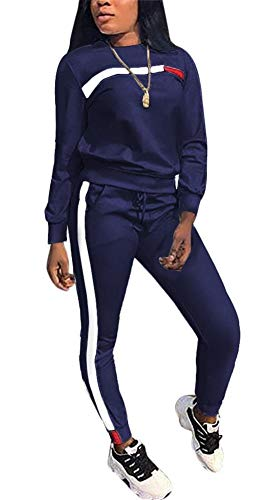 LKOUS Women's 2 Pieces Outfits Long Sleeve Pullover Sweatshirt Tops and Bodycon Long Pants Tracksuit Jumpsuit Set -
