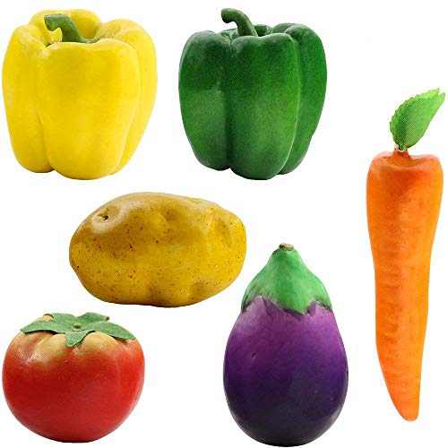 Supla 6 Pcs Realistic Artificial Foam Decor Vegetables Decorative Food Set Vintage Decorative Basket Kitchen Decor Basket Bowl Filler