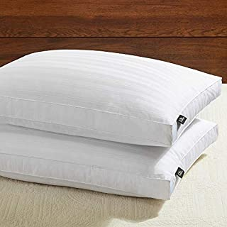 downluxe Goose Down Feather Pillow - 2 Pack Gusseted Bed Pillows for Sleeping with Premium 100% Downproof Cotton Shell, Down Pillow Queen Size