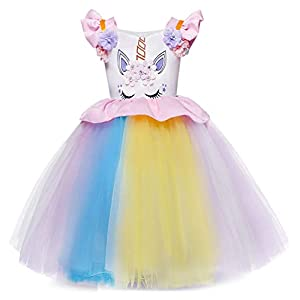 Cotrio Unicorn Costume Dress Girls Pageant Party Dresses Evening Gowns Halloween Tutu Dress 3