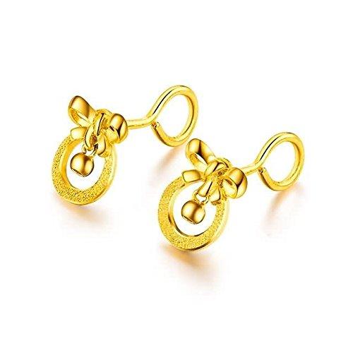Beydodo 2.48g 24K Yellow Gold 999 Stud Earrings for Womens Loop with Clamp Earrings Stud for Wedding