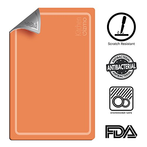 Extra Thick Flexible Cutting Board with Juice Groove | Heat and Cut Resistant, Antibacterial, BPA Free and FDA Approved| Dishwasher Safe, Double Sided, Orange and Grey Chopping Board by Kitchen Gizmo by Kitchen Gizmo