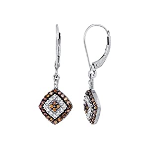 Cognac and White Diamond Dangle Earrings in 10K White Gold (1/2 cttw)