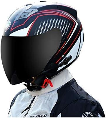 MTTKTTBD Bluetooth Open Face Motorcycle Helmet,3//4 Motorcycle Helmet with Visor Jet Half Motorbike Helmet Mofa Crash Moped Scooter Bobber Chopper Cruiser Pilot Racing Cap DOT Approved