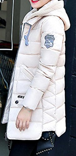 Winter Jacket White Classic Puffer Mid Womens MK988 Hoodie Length Warm wYT86xq6