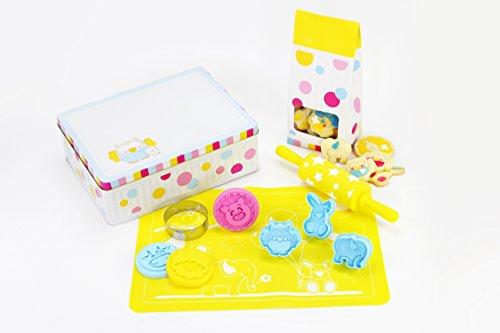 Bezauberndes Set für Kinder zum Plätzchen backen & Ausstechen von gesunden Leckereien - inkl. Kekstempel, Ausstechern, Teigroller uvm. -