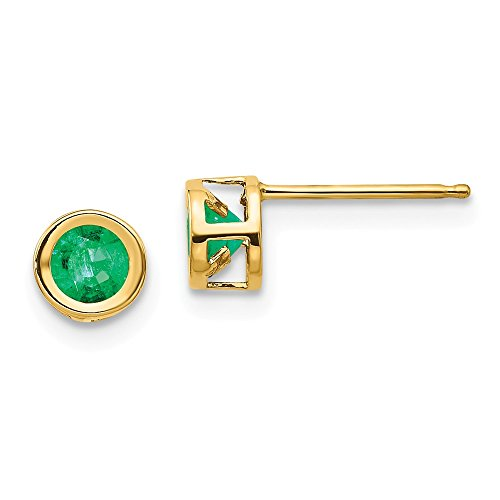 14k Yellow Gold 4mm Bezel May/emerald Post Stud Earrings Birthstone May Gemstone Fine Jewelry Gifts For Women For Her