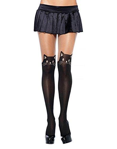 Leg Panties Avenue Spandex (Leg Avenue Women's Cat Spandex Opaque Pantyhose, Black/Nude, One Size)