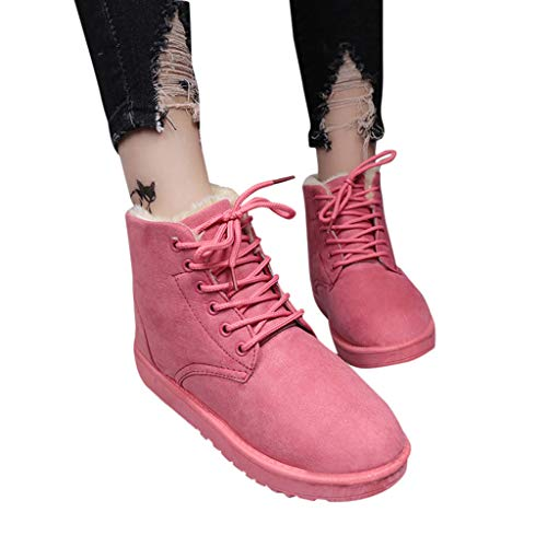 AgrinTol Women Snow Boots Plush Warm Flat Ankle Boots Winter Outdoor Work Calf Boots Women Boots Shoes Pink
