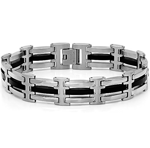 Oxford Ivy Mens Stainless Steel and Black Rubber Link Bracelet 8 1/2 - Link Mens Rubber
