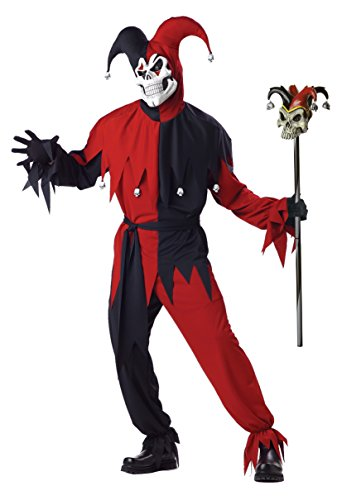 [California Costumes Men's Adult Evil Jester Costume with Jester Cane, Black/Red, X-Large] (Red Skull Costume Amazon)