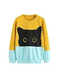 Women Hoodie Sweatshirt Hooded Pullover Casual Cat Print Long Sleeve Tops Blouse