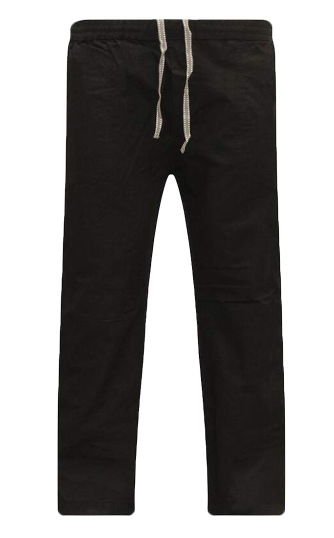 BU2H Men Casual Loose Relaxed Fit Cotton Linen Straight Pants Black US XS