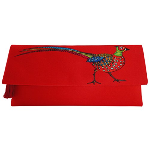 Fold Over Satchel (BoBo Women's Silk Satin Fold-Over Clutch Handmade Bag; Pheasant)