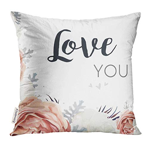 (TOMKEYS Throw Pillow Cover Floral Pink Peach Garden Rose White Peony Flower Dusty Miller Silver Leaves Agonis Mix Bouquet Greeting Decorative Pillow Case Home Decor Square 18x18 Inches Pillowcase)