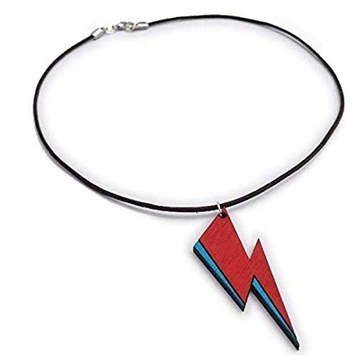 Rockstar Lightning Bolt Wood Choker | Red and Blue Wooden Pendant Necklace | Eclectic Rock'n'Roll Jewelry