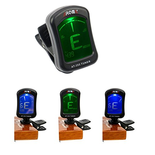 Guitar Tuner, Clip-On 360 Degrees Rotatable, Best for Winding Acoustic Guitar Bass Violin Ukulele Banjo Brass and Wood Instruments, plastic black (AT-355) (Acoustic Guitar Replacement Neck)