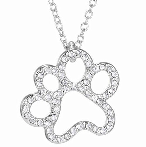 Silver Plated Dog Puppy Footprint Pet Paw Print Bead Crystal Claws Cubic Zirconia Charm Dangle Necklace
