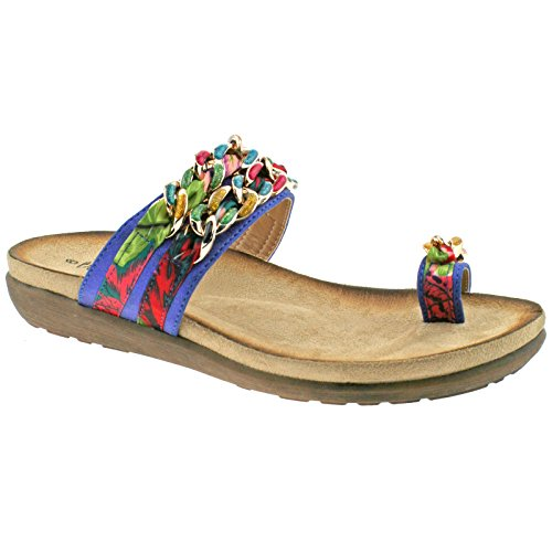 LADIES BOULEVARD TOE LOOP MULTI COLOURED FABRIC LINK SLIP ON SANDALS L9527C KD-UK 6 (EU 39)