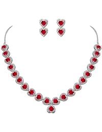 Women's CZ Birthstone Romantic Love Heart Necklace Earrings Set Silver-Tone