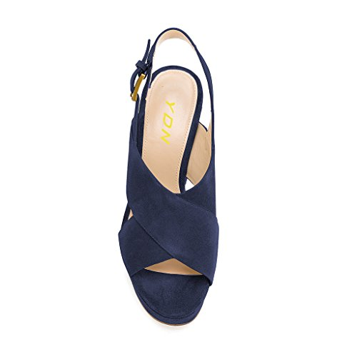 YDN Women's Peep Toe Platform Slingback Sandals Chunky High Heel Pumps Cross Straps Chic Shoes Navy amazing price exclusive store online mrupo